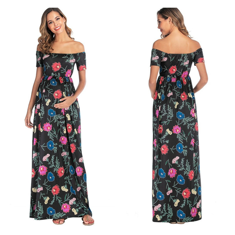 Summer Maternity Fashion Pregnant Women Shoulderless Maxi Dresses