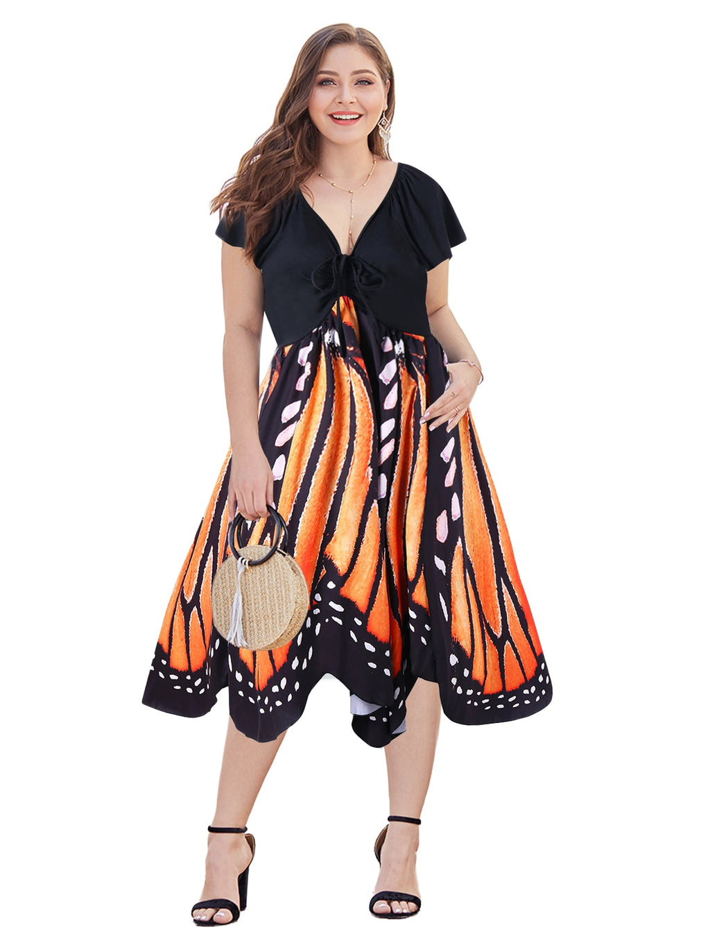 Wipalo Vintage Low Cut Butterfly Print Swing Plus Size Dress
