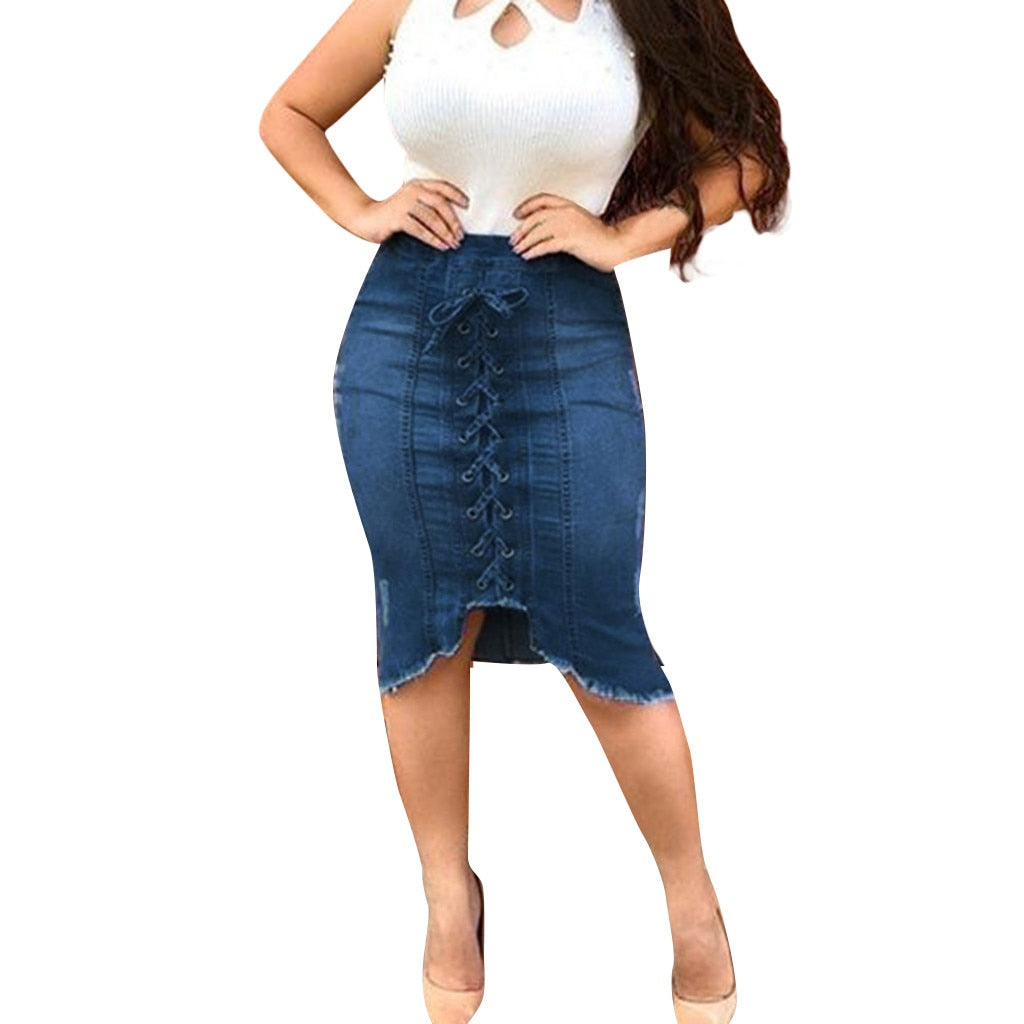 Womail Denim Sexy Ripped Destroyed Bodycon Pencil Plus Size Skirt