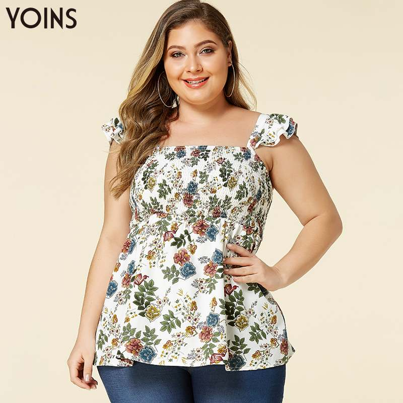 YOINS Floral Print Ruffle Trim Sleeveless Backless Plus Size Top