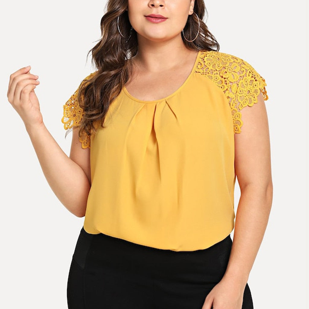 Sexy Solid Lace Shoulder Pullover Plus Size Top