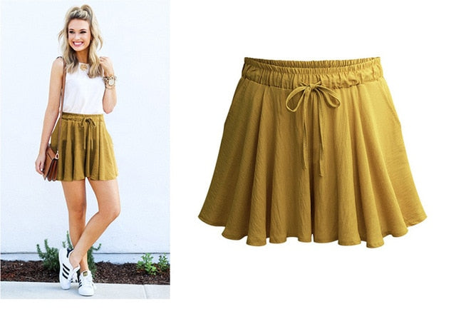 Chiffon Casual Wide Leg Elastic High Waist Women Plus Size Short