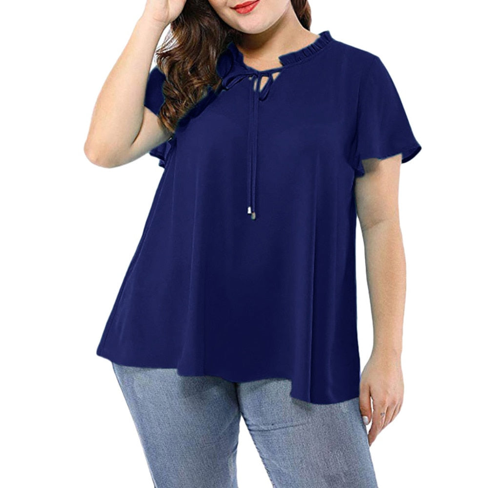 Solid Color Short Sleeve V-Neck Bow Women's Plus Size Top
