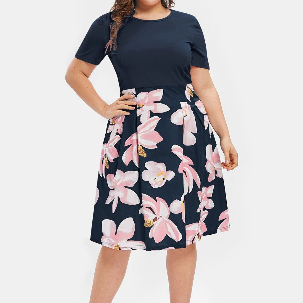Women Flower Print Plus Size Dress