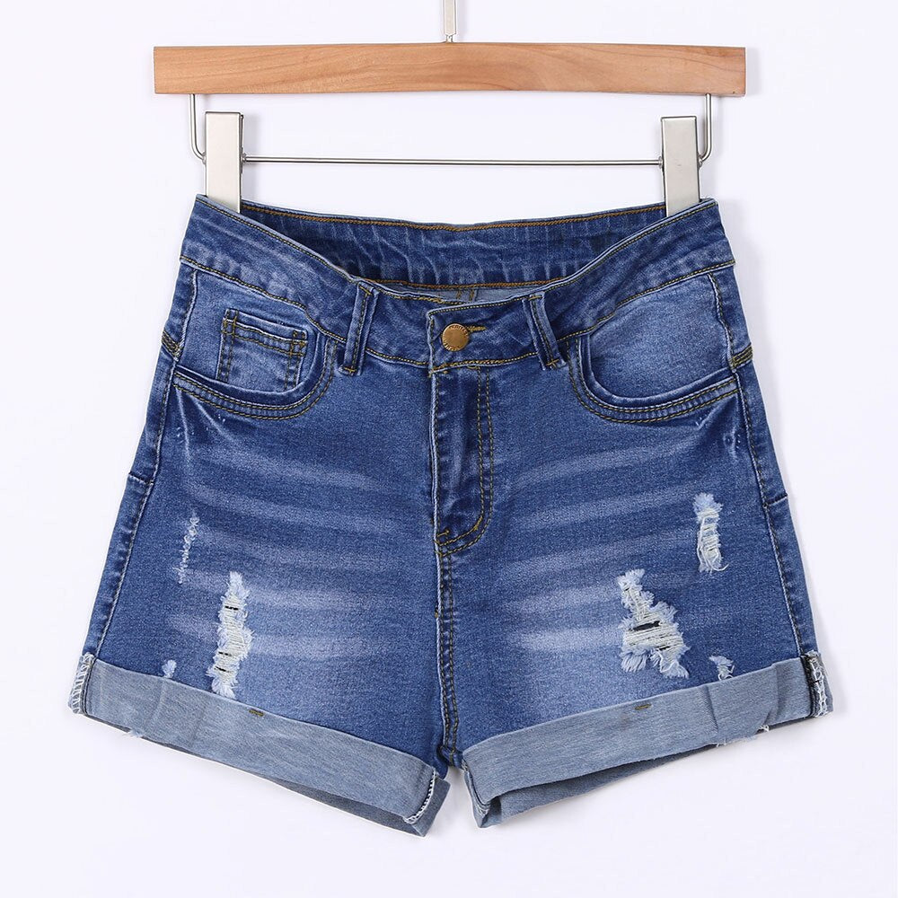 Women Low Waisted Washed Ripped Hole Mini Jeans Denim Shorts