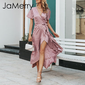 JaMerry Vintage boho sexy leopard print Short sleeve dot long dress