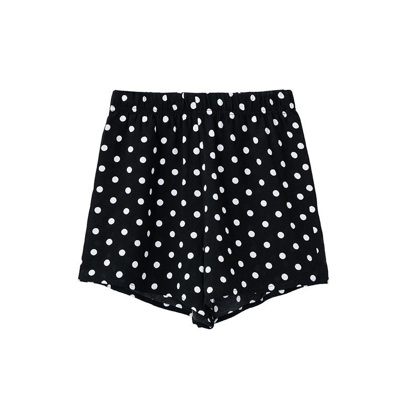 Chiffon Summer Polka Dot Women Plus Size Shorts With Pockets