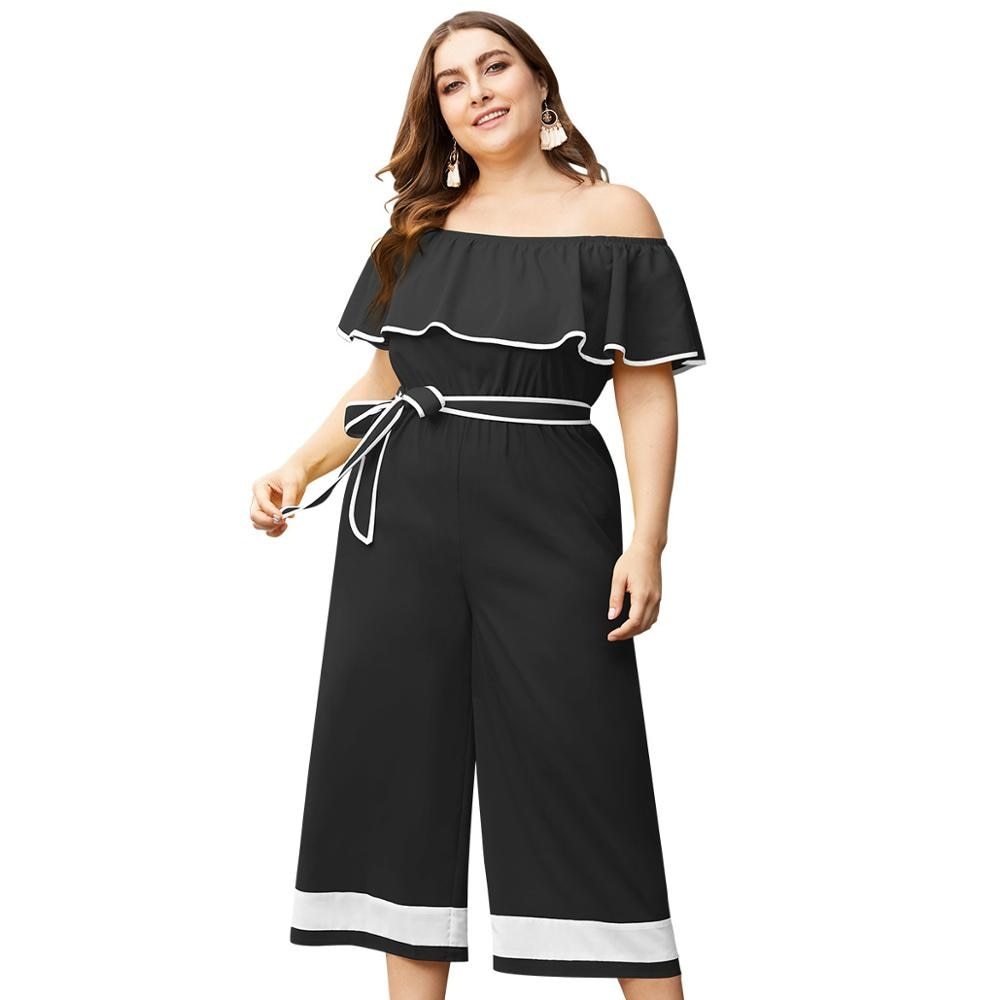 WHZHM Summer Slash Neck Ruffles Plus Size Jumpsuit