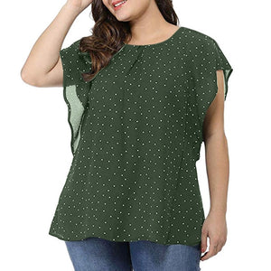 Ruffle Short Sleeve Dot Print Chiffon Plus Size Top