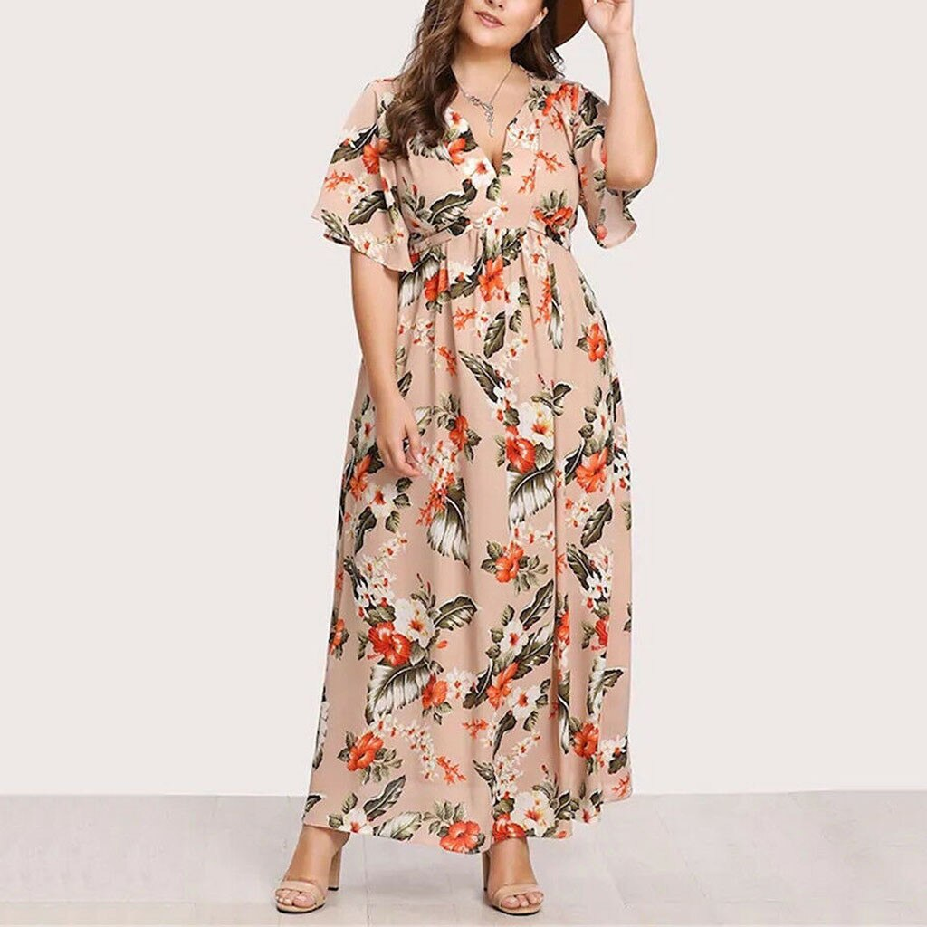 Womail Split Chiffon Plus Size Dress