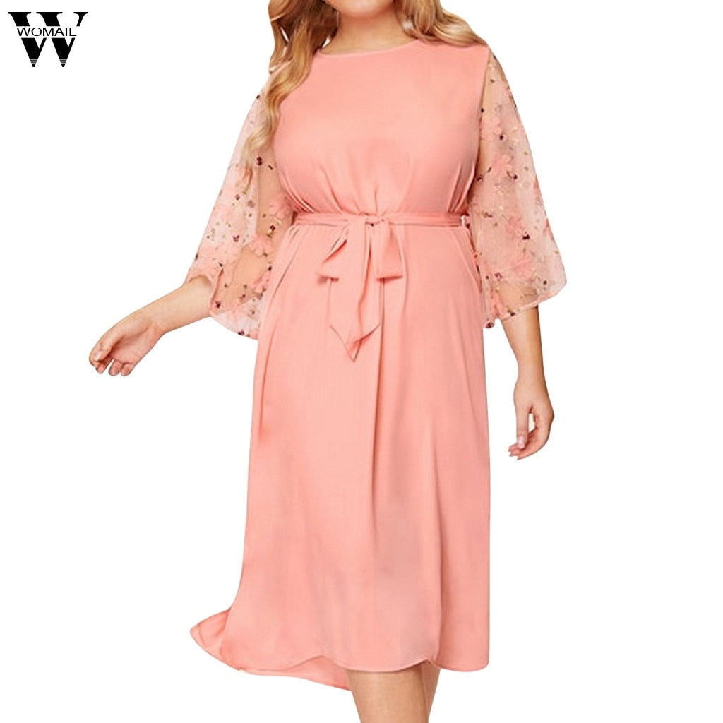 Womail Solid O-Neck Floral Bandage Plus Size Dress