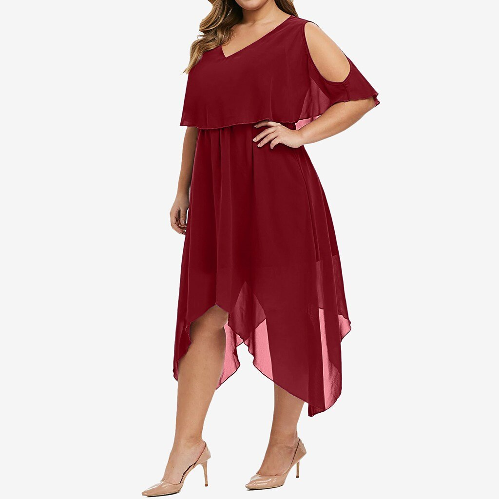 Chiffon Irregular Plus Size Dress