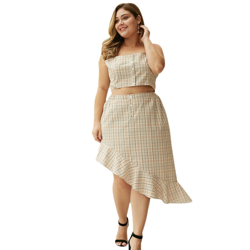 WHZHM Summer Sexy Trumpet  Plus Size Sets