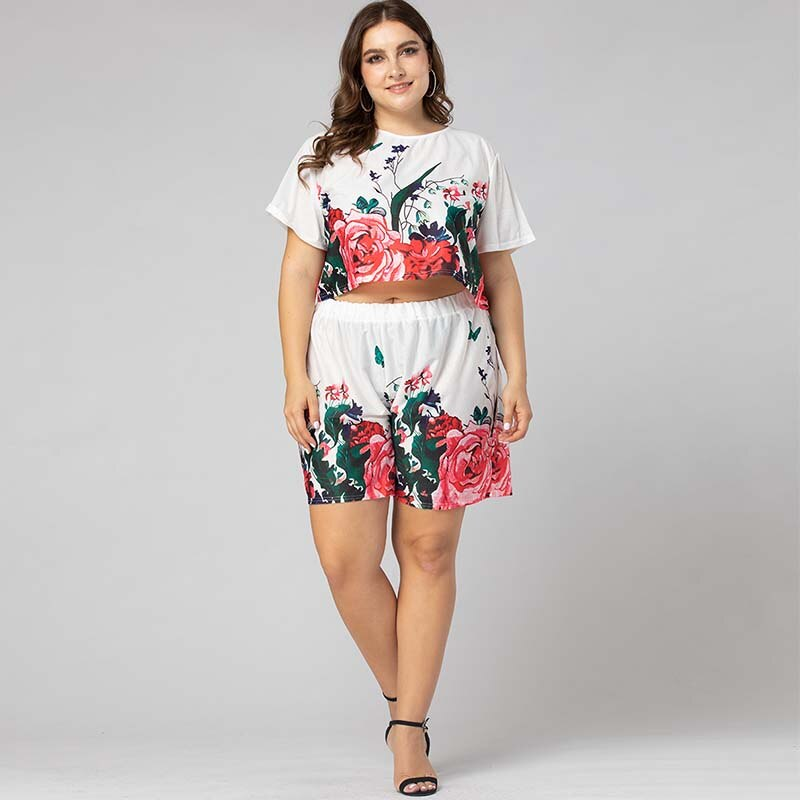 WHZHM Summer White Flower Plus Size Sets
