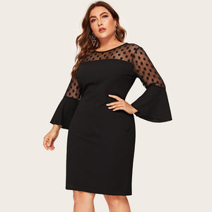 Womail Patchwork Flare Sleeve Mesh Dress