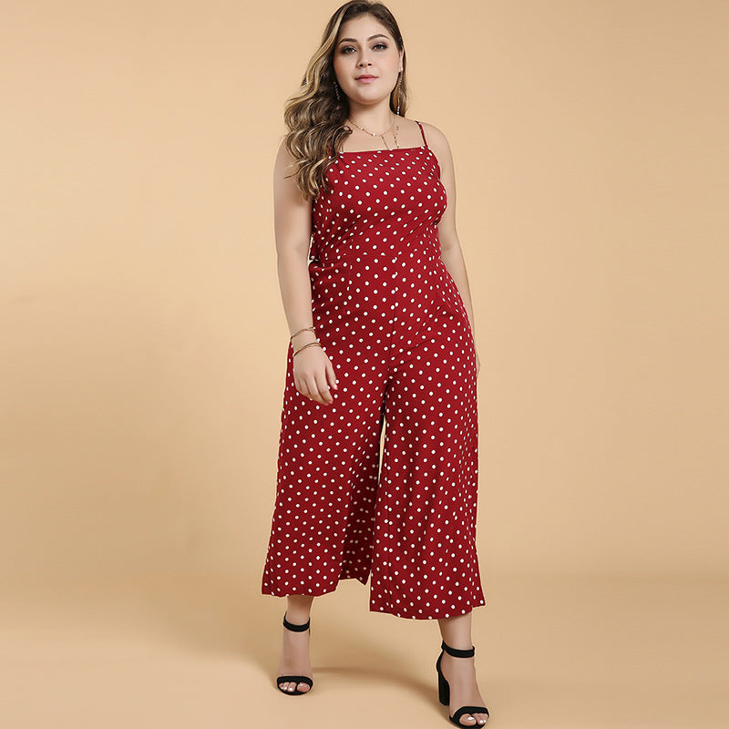 WHZHM Summer Dot Sleevelss Strap Backless Bow Plus Size Jumpsuit
