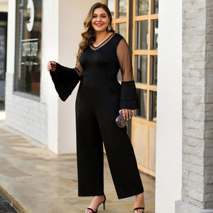 WHZHM Black Patchwork Deep V-Neck Loose Party Plus Size Jumpsuit
