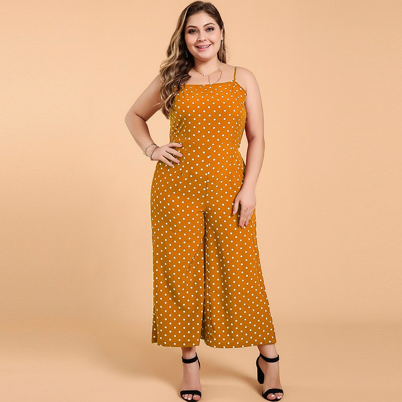 WHZHM Summer Dot Backless Plus Size Jumpsuits Women Sleevelss Strap Backless Bow Red Loose Pants Sexy Beach Jumpsuits