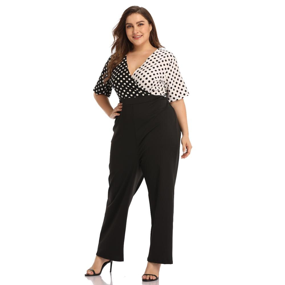 Dot Printed Plus Size Jumpsuits