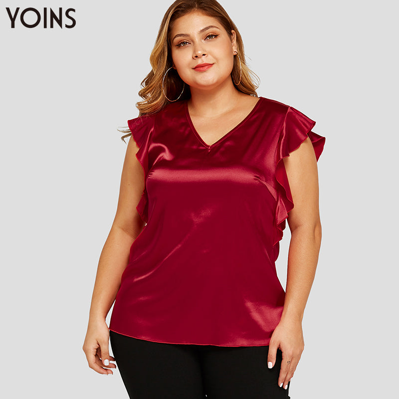 YOINS Red Satin Ruffle Trim V-neck Cap Sleeves Plus Size Top
