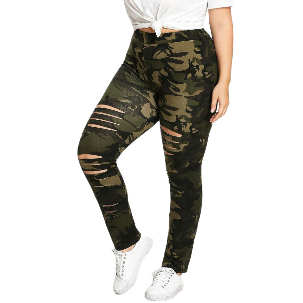 Womail Sport Hole High Waist Women Plus Size Pant