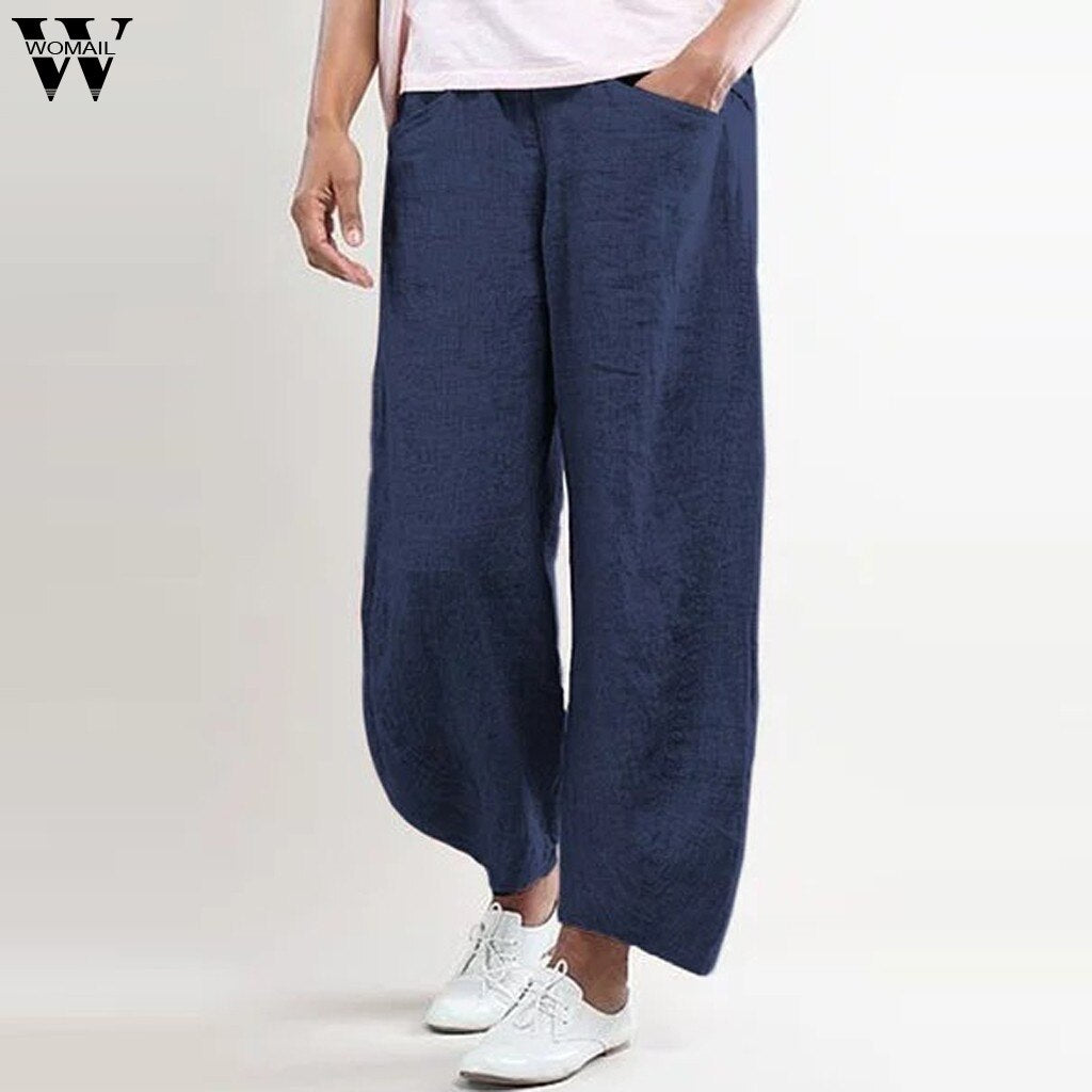 Womail Solid Flax Elastic Long Straight Leisure Women Plus Size Pant
