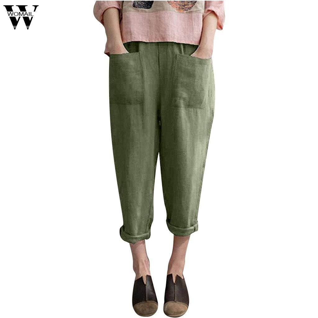 Womail Cotton Linen Blend Pocket Casual Elastic Trousers Solid Color Plus Size Pant