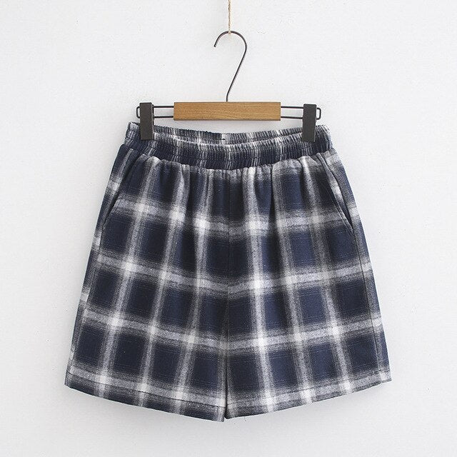 Summer Plaid Cotton Pocket Plus Size Short