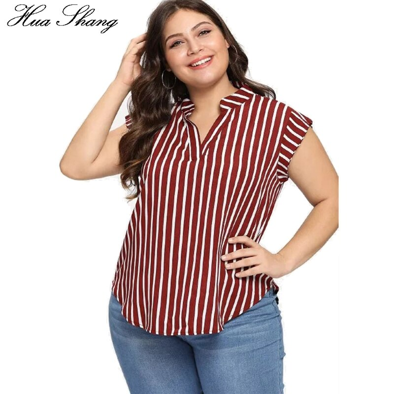 Women Summer Stand V Neck Short Sleeve Striped Print Plus Size Tops