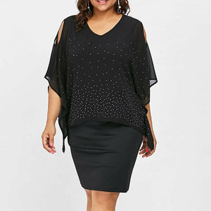 Women O-Neck Solid Cold Shoulder Overlay Asymmetric Diamonds Plus Size Dress