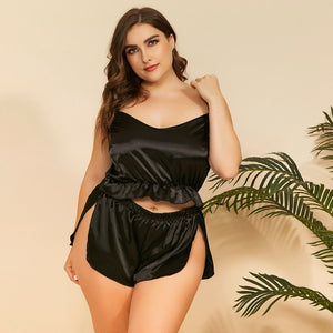 Sexy Suspenders Split Plus Size Pajama Suit