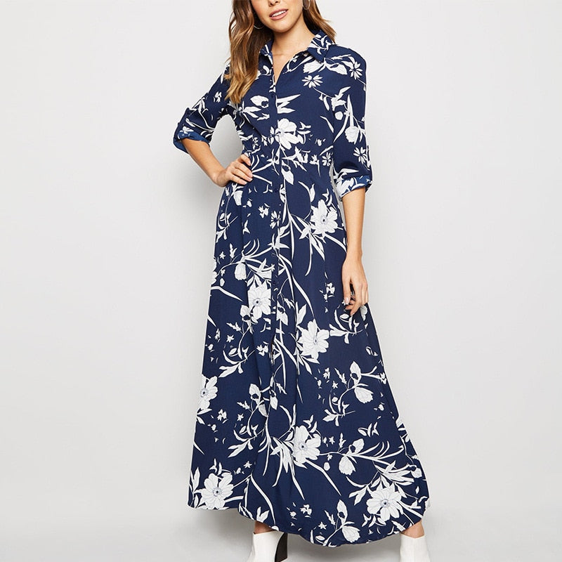 Print Elegant Spring Summer A-line Beach Long Dress