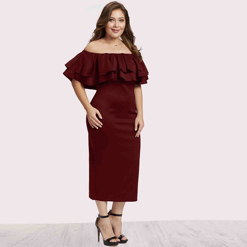 Sense Ruffled Slim Mid-Length Retro Solid Color Plus Size Strapless Dress