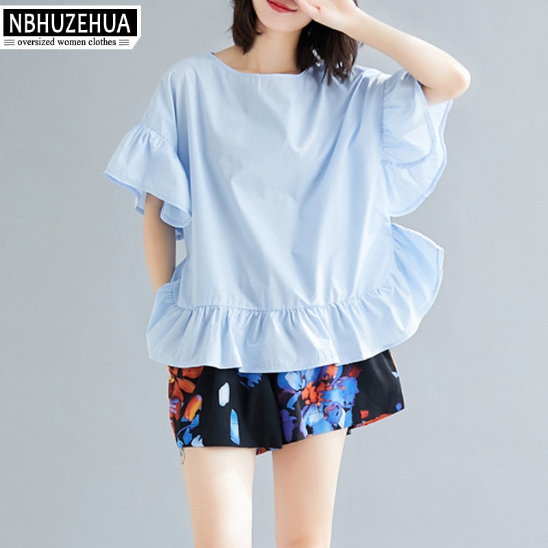 NBHUZEHUA Women Sweet Ruffles Top and Pants Plus Size Summer Outfits