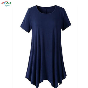JQNZHNL Summer New Fashion Round neck Irregular Plus Size Tops