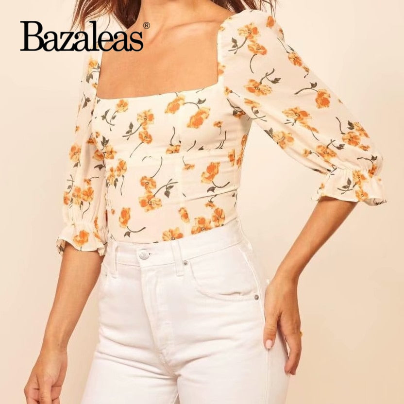 Bazaleas Yellow Floral Print Fashion Slim Chiffon Tops