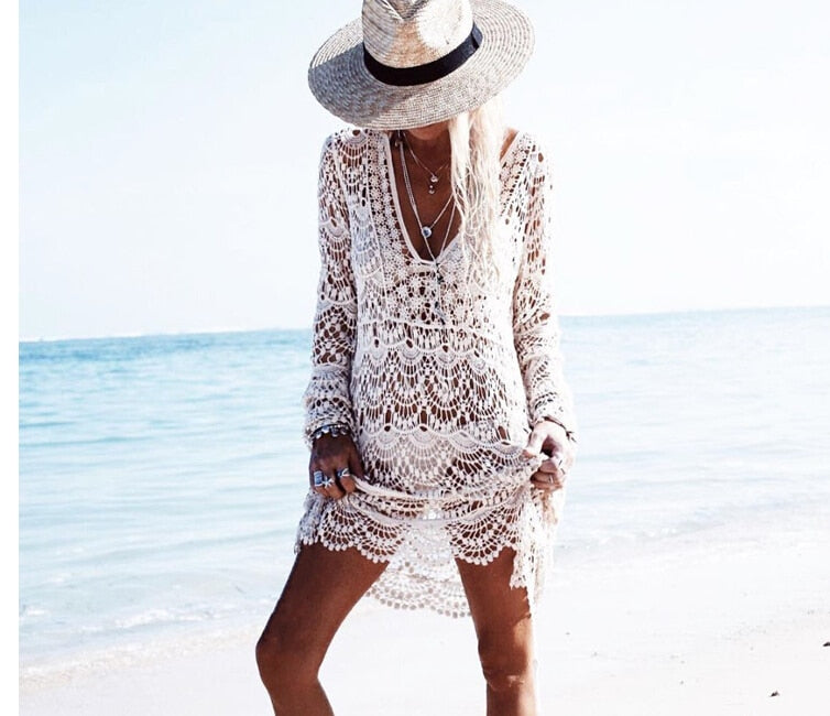 Tunic Wear Beach Swimsuit Loose Lace Piece Bikini Cover Dress