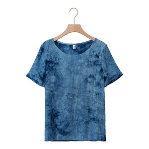 Casual Loose  Tie-Dyed Cotton Short Sleeve O-Neck Shirt