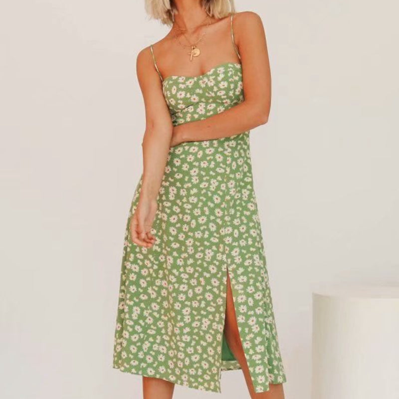 2020 Sleeveless Sexy Green Floral Elegant Casual Split Midi Dress