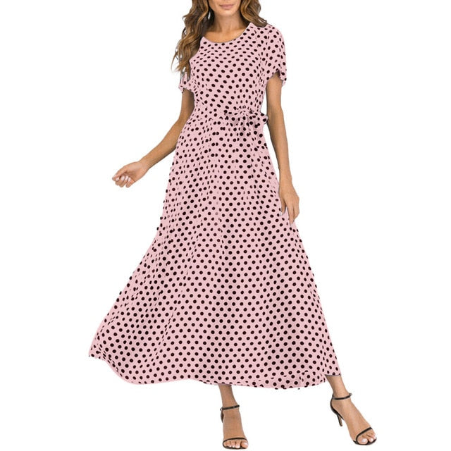 Women Summer Short Sleeve Polka Dot Print Boho Beach Plus Size Long Dress