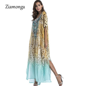 Ziamonga Women Leopard Chiffon Long Maxi Beach Dress