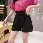 Women High-waist 2020 Summer New Korean Version Loose Elastic Waist A-Line Students Pants