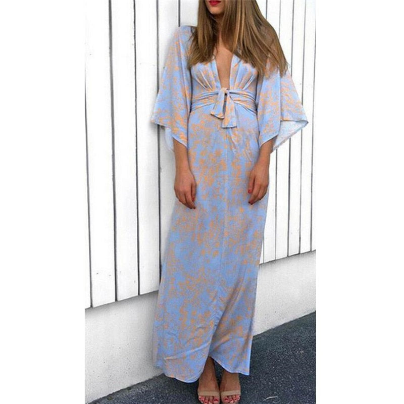 Hot Women Summer Boho V-Neck Print Party Evening Maxi Beach Long Sundress