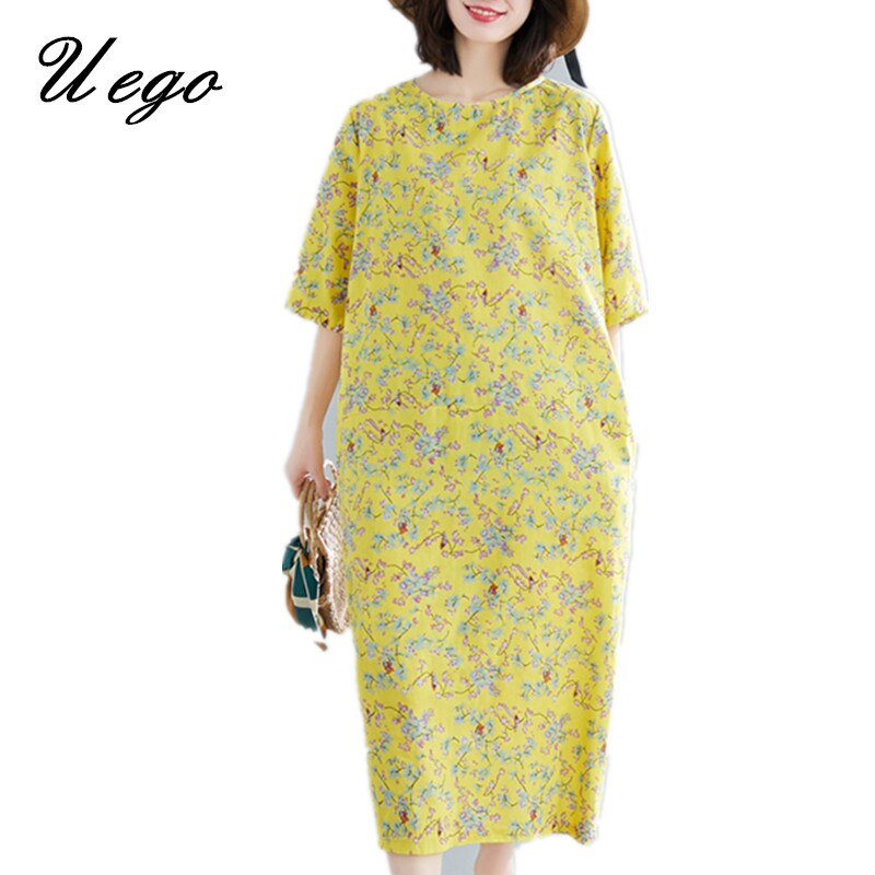 Uego Fashion Print Floral Chic Vintage Dress