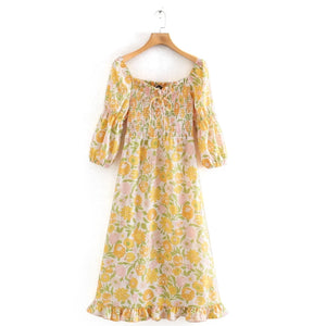 New Women Vintage Square Collar Floral Print Casual Elastic Yellow Midi Dress
