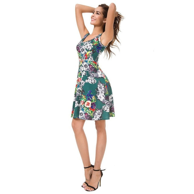 Casual Print Sleeveless Women's Slash Neck Mini Dresses