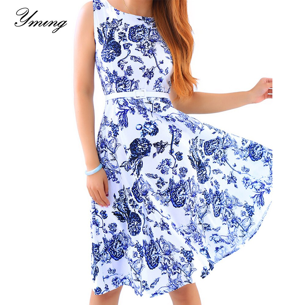 YMING Women's Summer Print  Elegant Party  Sleeveless Big Swing Midi Dress