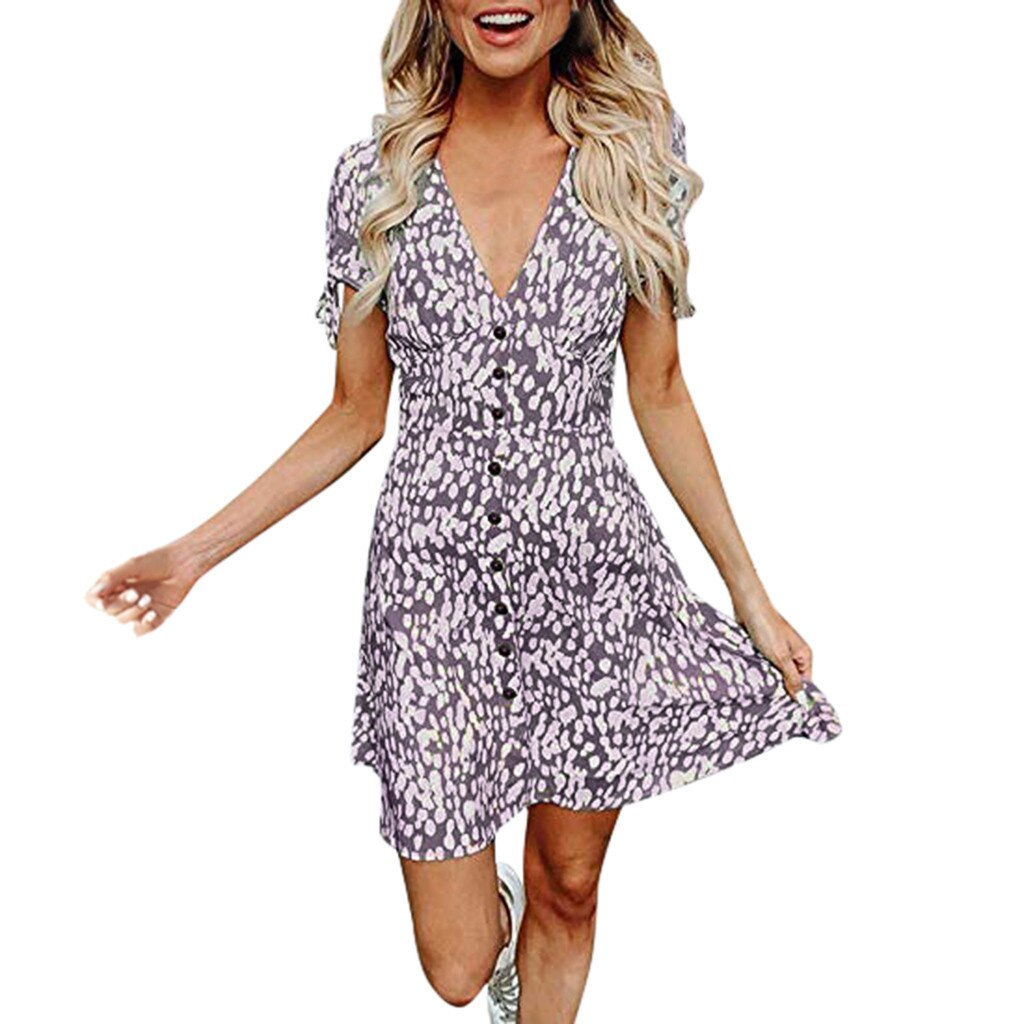 MUQGEW Women Sexy Mini V Neck Floral Dress