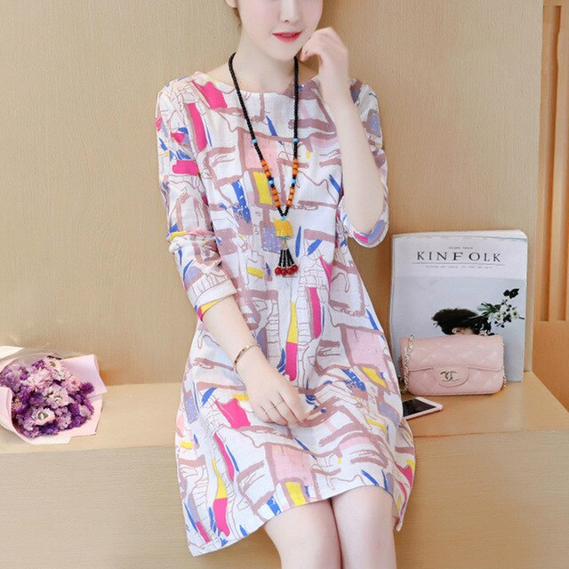 AYUNSUE 2020 Spring Summer Women Casual Cotton Dress