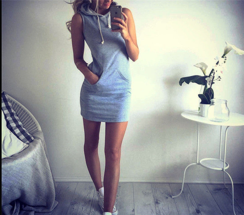Women Casual Slim Sleeveless Mini Cotton Dress